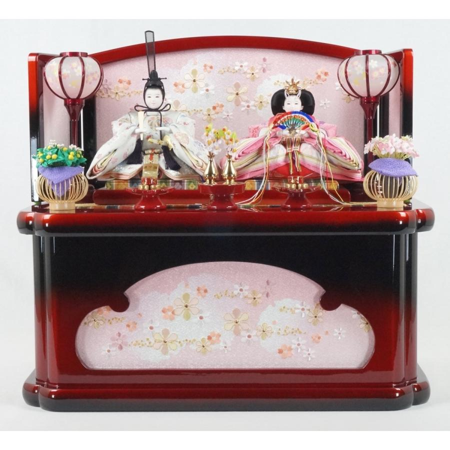 雛人形 あかね収納飾り パール赤黒 吉徳大光230 間口55cm