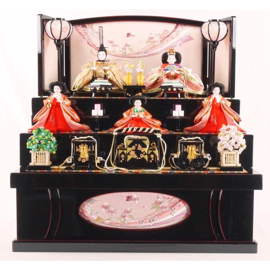 雛人形 ほのか引出収納三段飾り 曙塗 吉徳大光227 (間口60cm)