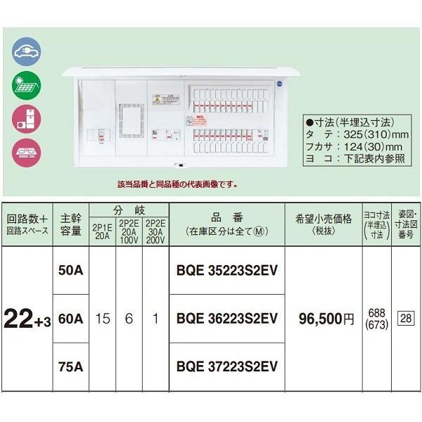 電設資材 パナソニック BQE37223S2EV 分電盤 EV·PHEV充電回路·太陽光発電·エコキュート·IH対応住宅 リミッタースペース付
