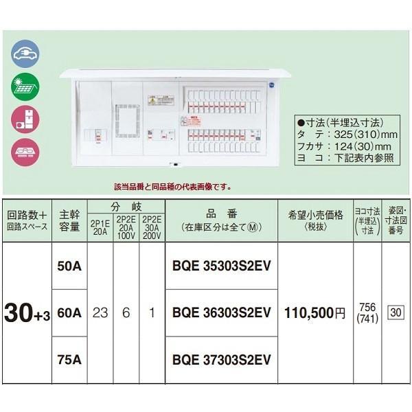電設資材 パナソニック BQE37303S2EV 分電盤 EV・PHEV充電回路・太陽光発電・エコキュート・IH対応住宅 リミッタースペース付 [∽]