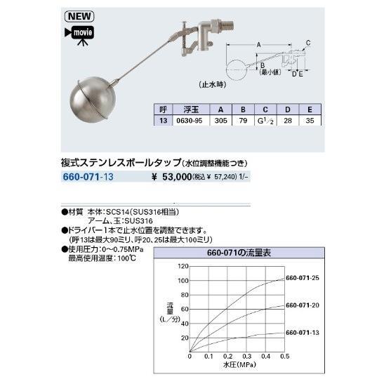 水栓金具 カクダイ 660-071-13 複式ステンレスボールタップ(水位調整 ...