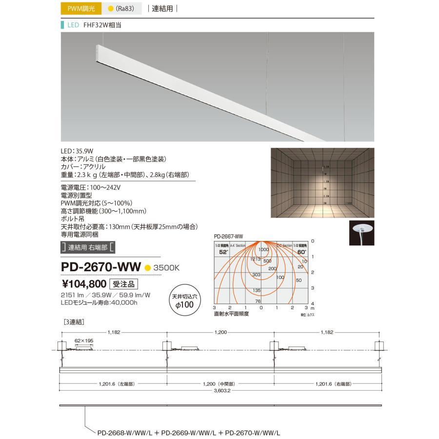 山田照明(YAMADA) PD-2670-WW アンビエント LED一体型 白色 PWM調光 連結用右端 受注生産品 [∽§]