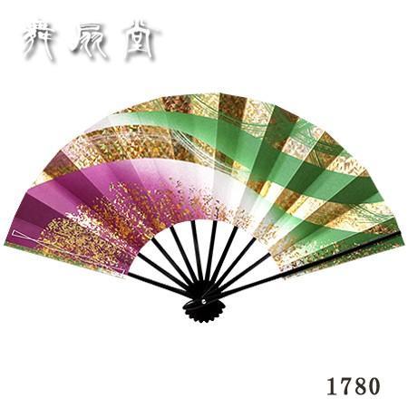 扇子 舞扇子((京扇子))『雪月花1780(赤紫・草/金ホログラム/黒塗骨)』