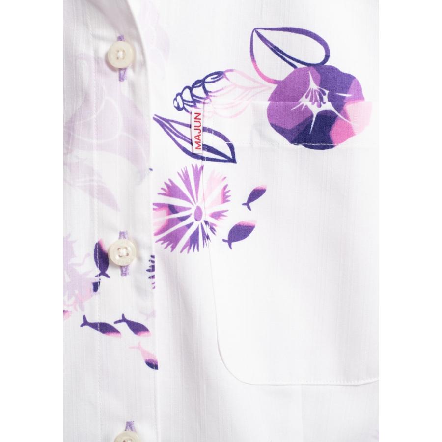 かりゆしウェア 沖縄 アロハシャツ MAJUN マジュン かりゆし 結婚式 レディースシャツスキッパープレザシーサイド majun 15