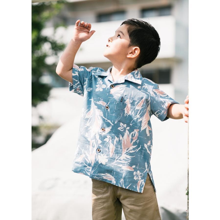かりゆしウェア 沖縄 アロハシャツ MAJUN マジュン かりゆし 結婚式 キッズ半袖シャツ開襟ミッドサマーブーケ(キッズシャツ) majun 09