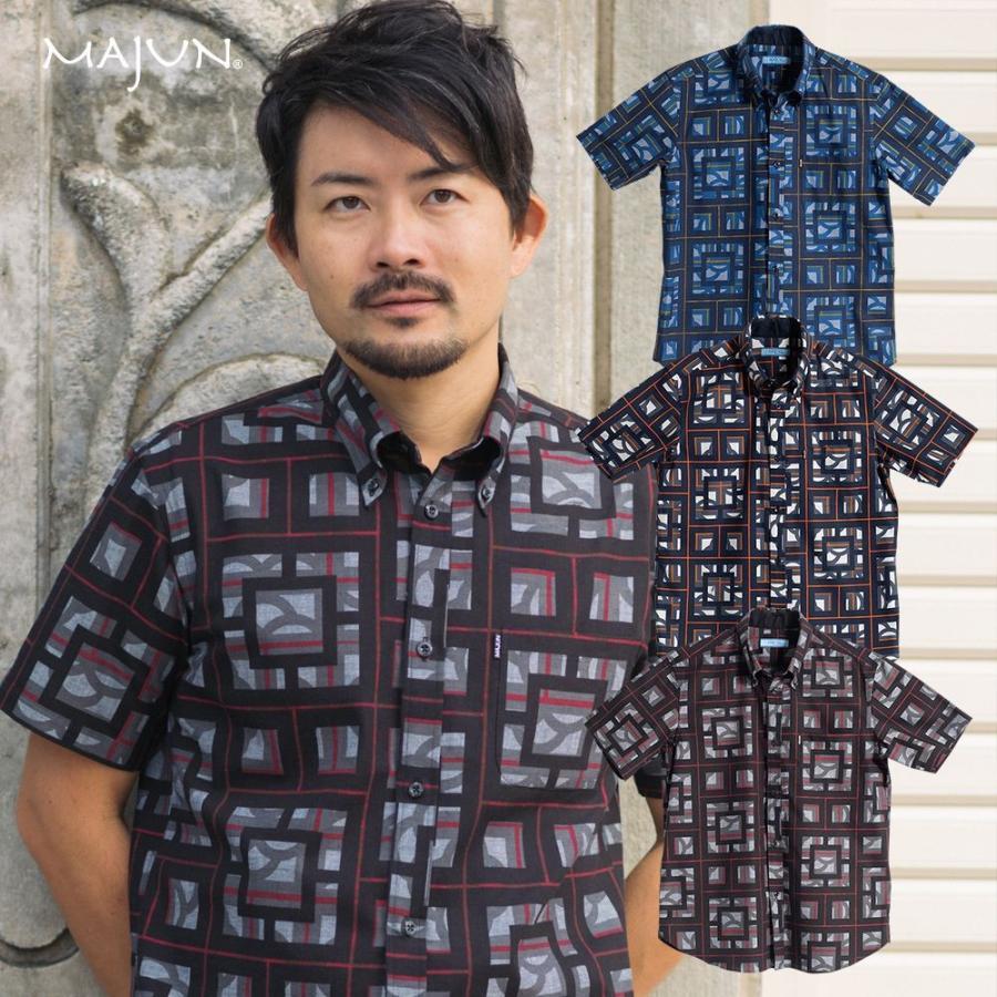 かりゆしウェア シャツ 結婚式 メンズ 半袖 ボタンダウン 大きいサイズ 沖縄 アロハシャツ ギフト プレゼント 国産 ブロックライン|majun