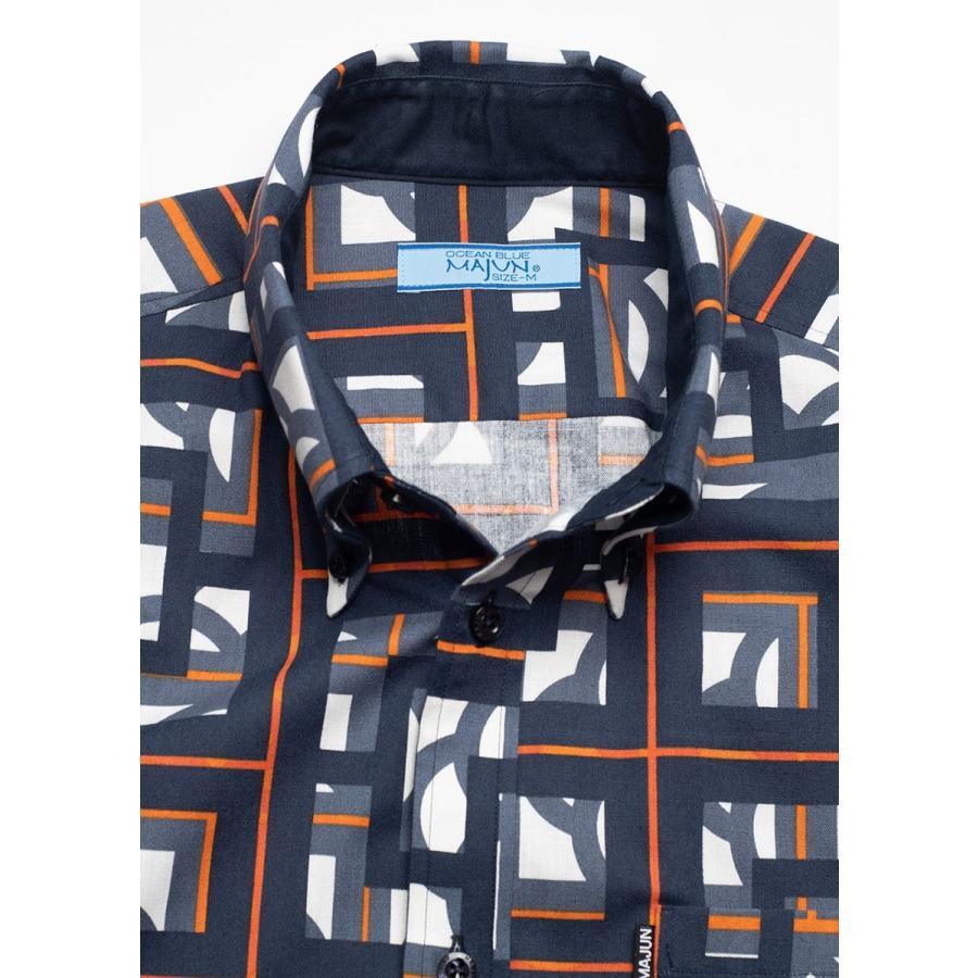 かりゆしウェア シャツ 結婚式 メンズ 半袖 ボタンダウン 大きいサイズ 沖縄 アロハシャツ ギフト プレゼント 国産 ブロックライン|majun|13
