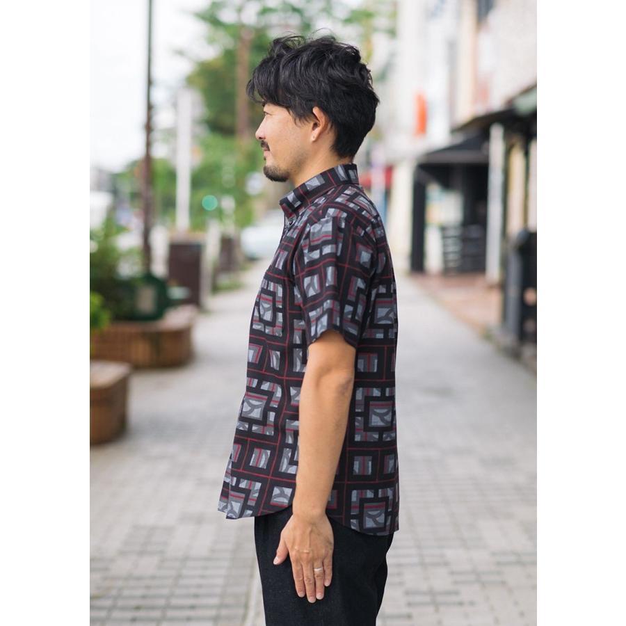 かりゆしウェア シャツ 結婚式 メンズ 半袖 ボタンダウン 大きいサイズ 沖縄 アロハシャツ ギフト プレゼント 国産 ブロックライン|majun|04