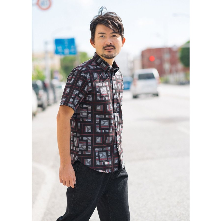 かりゆしウェア シャツ 結婚式 メンズ 半袖 ボタンダウン 大きいサイズ 沖縄 アロハシャツ ギフト プレゼント 国産 ブロックライン|majun|09
