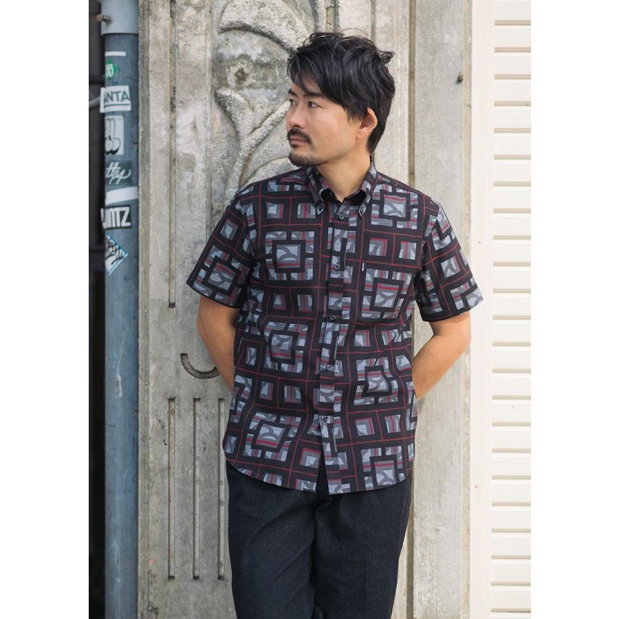 かりゆしウェア シャツ 結婚式 メンズ 半袖 ボタンダウン 大きいサイズ 沖縄 アロハシャツ ギフト プレゼント 国産 ブロックライン|majun|10