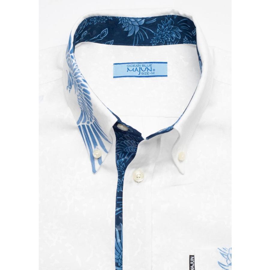 かりゆしウェア シャツ 結婚式 メンズ 半袖 ボタンダウン 大きいサイズ 沖縄 アロハシャツ ギフト プレゼント 国産 フェニックス煌 majun 19