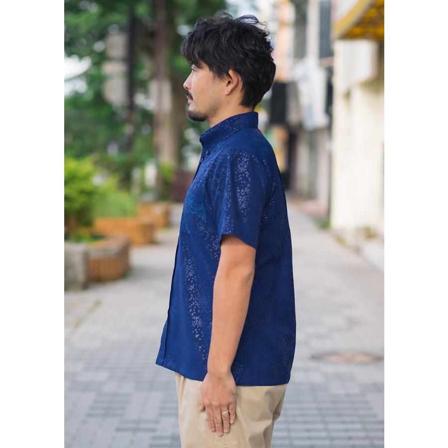 かりゆしウェア シャツ 結婚式 メンズ 半袖 ボタンダウン 大きいサイズ 沖縄 アロハシャツ ギフト プレゼント 国産 フェニックス煌 majun 04