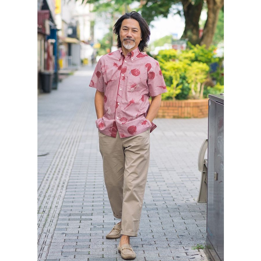かりゆしウェア シャツ 結婚式 メンズ 半袖 ボタンダウン 大きいサイズ 沖縄 アロハシャツ ギフト プレゼント 国産 スターシェル majun 10