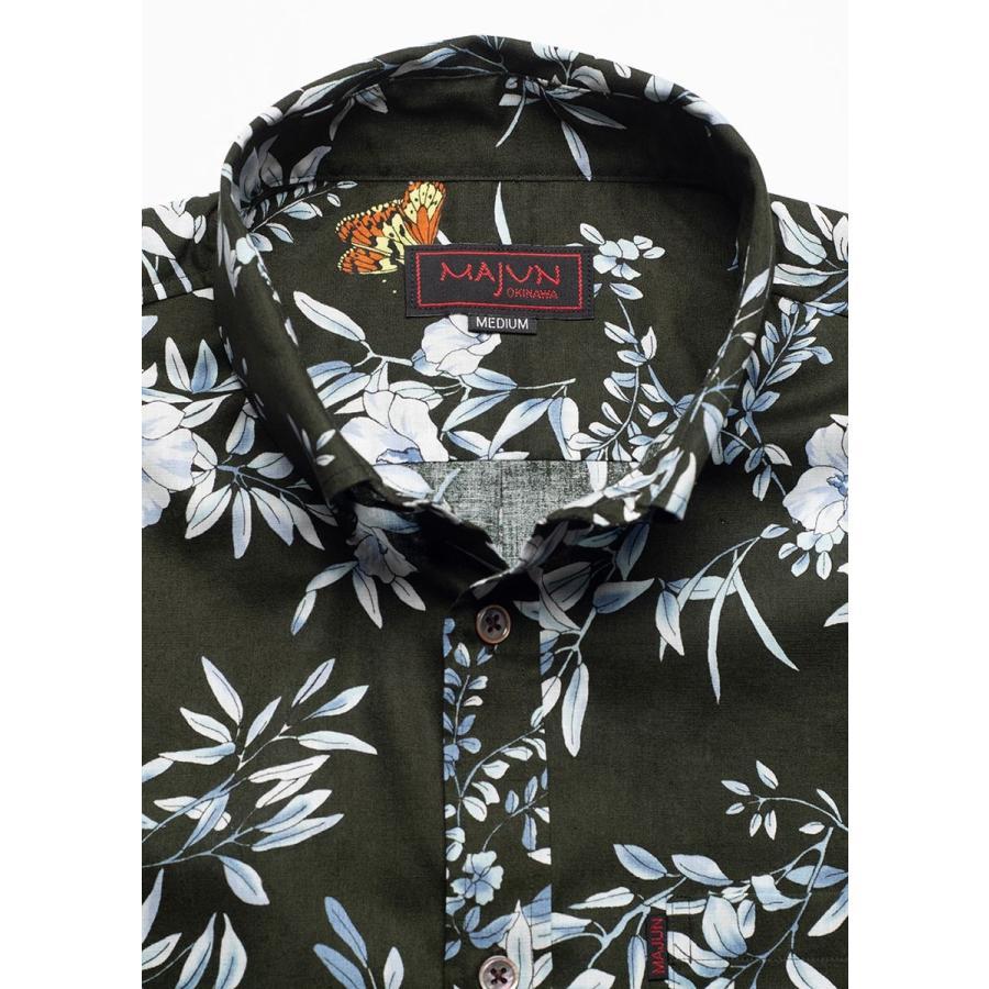 かりゆしウェア シャツ 結婚式 メンズ 半袖 ボタンダウン 大きいサイズ 沖縄 アロハシャツ ギフト プレゼント 国産 クリアボタニカル|majun|13