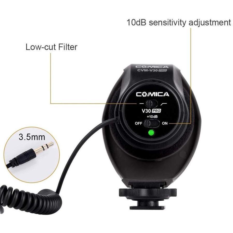 COMICA CVM-V30 PRO カメラマイク 単一指向性 コンデンサーガンビデオマイク DSLR/Canon/Nikon/Sony Panasonic用 3.5mm|makanainc|02