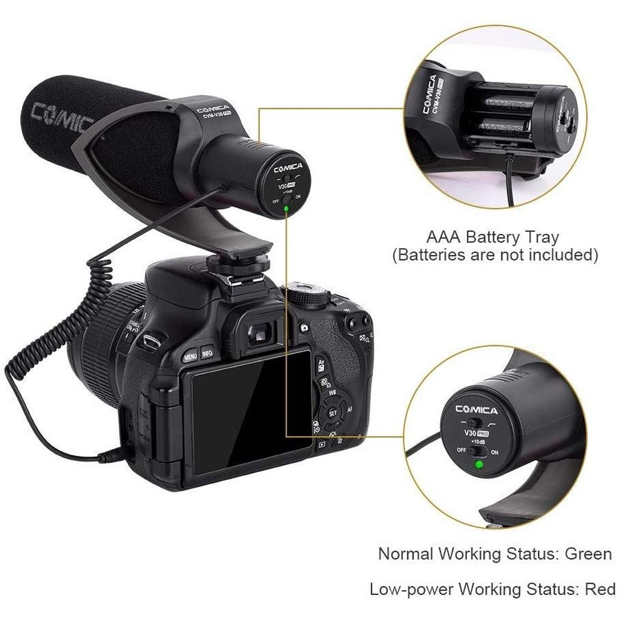 COMICA CVM-V30 PRO カメラマイク 単一指向性 コンデンサーガンビデオマイク DSLR/Canon/Nikon/Sony Panasonic用 3.5mm|makanainc|03