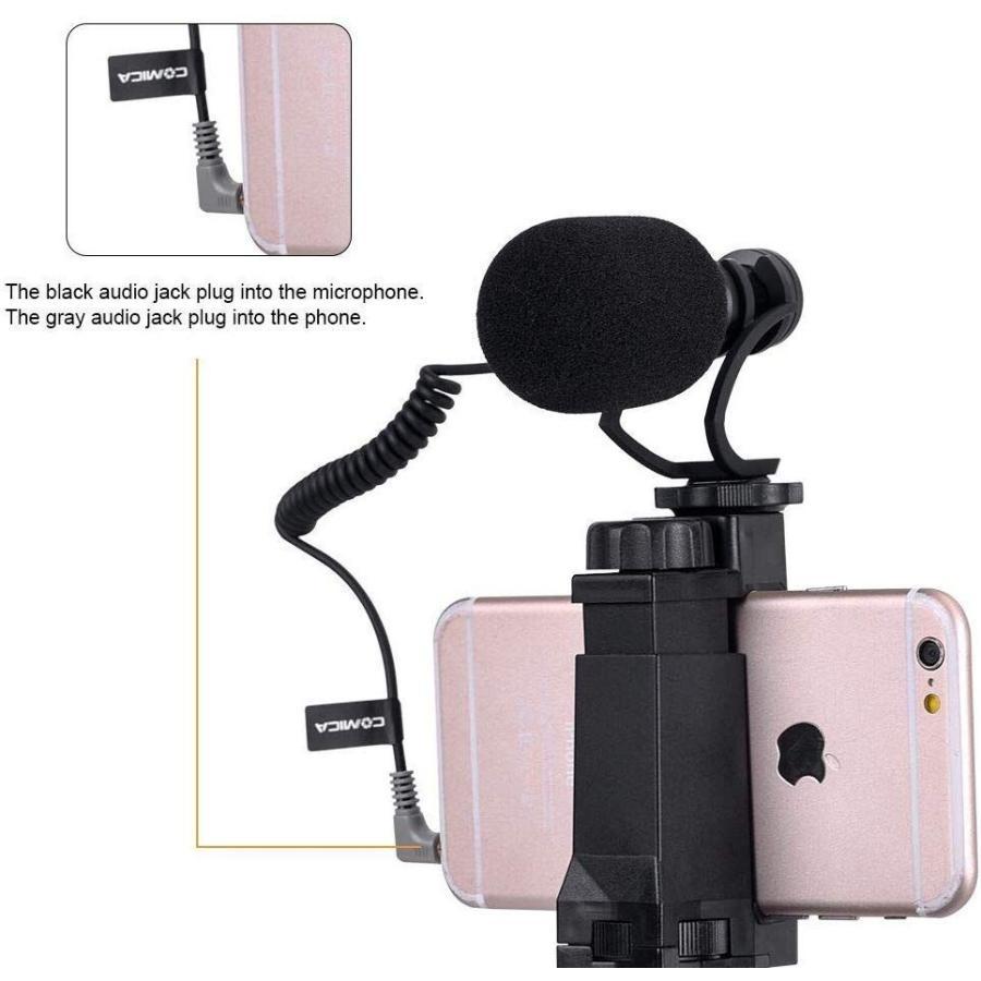 スマートフォンマイク COMICA CVM-VM10-K2ミニ三脚付き、ショットガンビデオカメラマイク iphone samsung用など スマートフォンカメラマン|makanainc|03