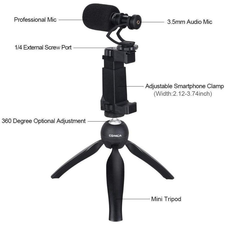 スマートフォンマイク COMICA CVM-VM10-K2ミニ三脚付き、ショットガンビデオカメラマイク iphone samsung用など スマートフォンカメラマン|makanainc|04