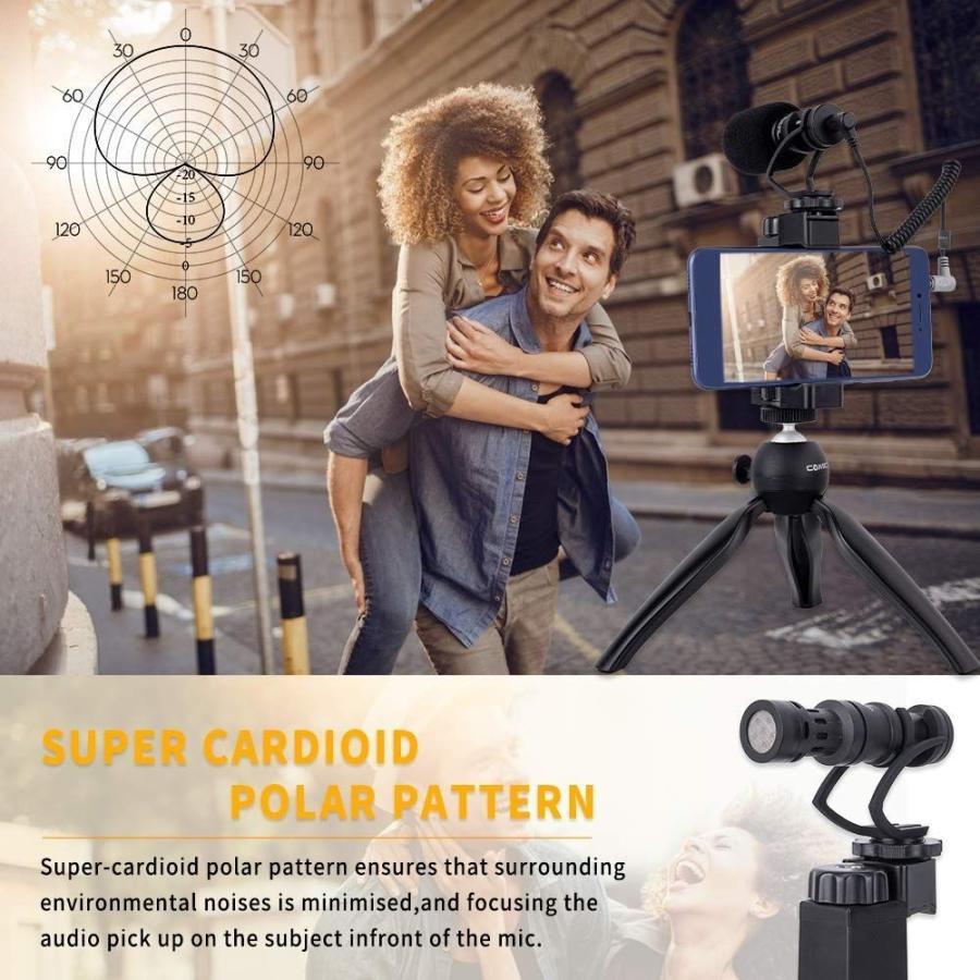 スマートフォンマイク COMICA CVM-VM10-K2ミニ三脚付き、ショットガンビデオカメラマイク iphone samsung用など スマートフォンカメラマン|makanainc|05
