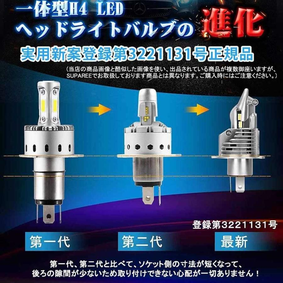 SUPAREE H4 LED ヘッドライト HI/LO 新車検対応 車/バイク用 8000LM 27W ホワイト 6500K LEDバルブ 1個入|makanainc|06
