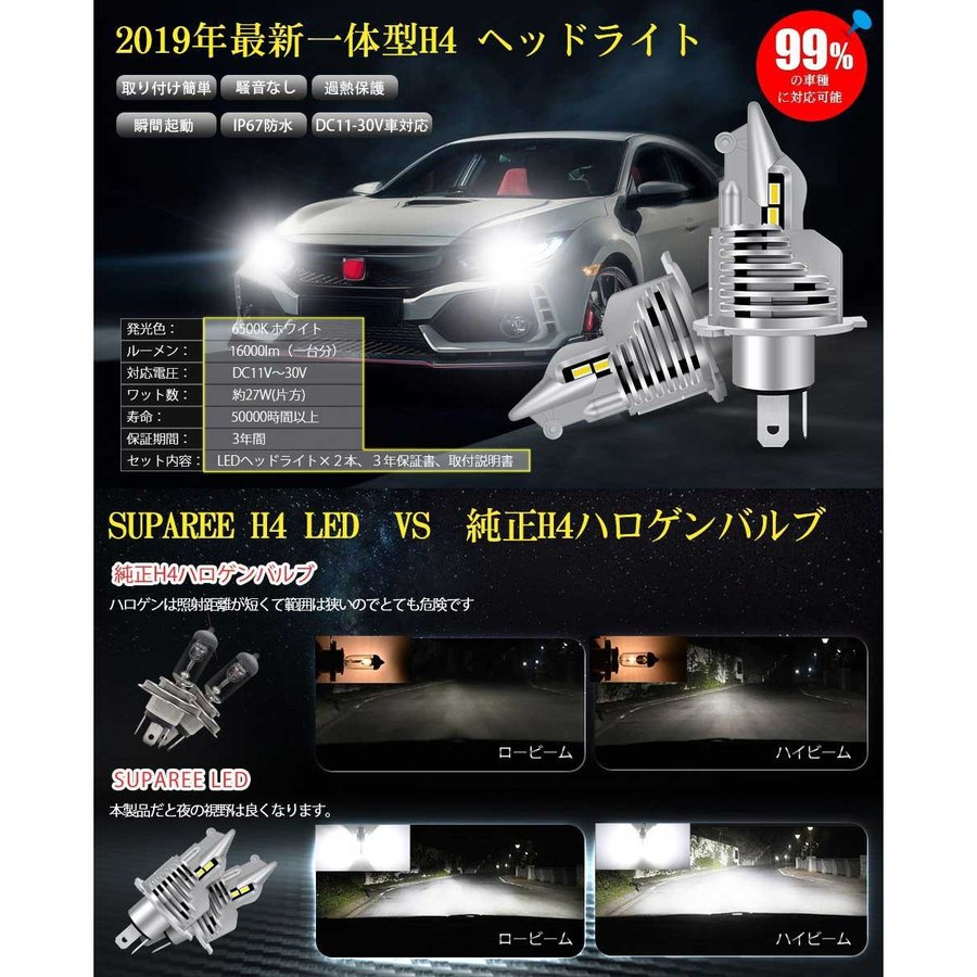 SUPAREE H4 LED ヘッドライト HI/LO 新車検対応 車/バイク用 8000LM 27W ホワイト 6500K LEDバルブ 1個入|makanainc|10