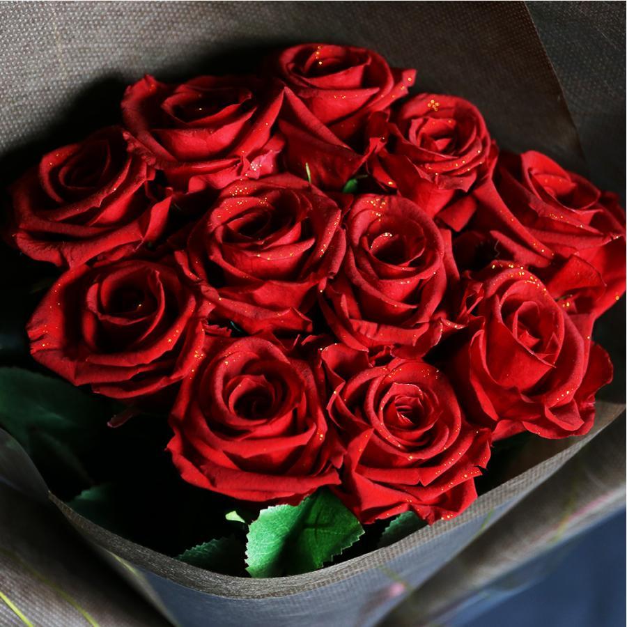 プリザーブドフラワー プレゼント ギフト 花 バラ 花束 11本 赤い薔薇 茎-造花 プロポーズ 結婚記念日 花言葉は最愛 母の日|makefuture|05
