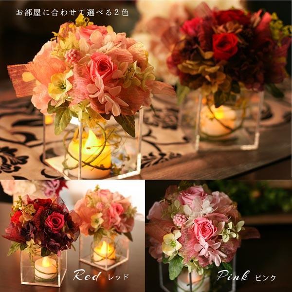 プリザーブドフラワー プレゼント ギフト 花 ほのかに揺れる LEDキャンドル アレンジ ゆらぎ お祝い 母の日 makefuture 09