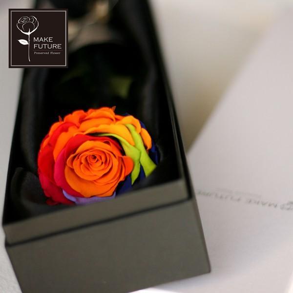 プリザーブドフラワー レインボーローズ 花 プレゼント薔薇 一輪 花言葉は奇跡 Rainbow Rose|makefuture