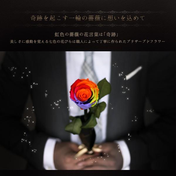 プリザーブドフラワー レインボーローズ 花 プレゼント薔薇 一輪 花言葉は奇跡 Rainbow Rose|makefuture|02
