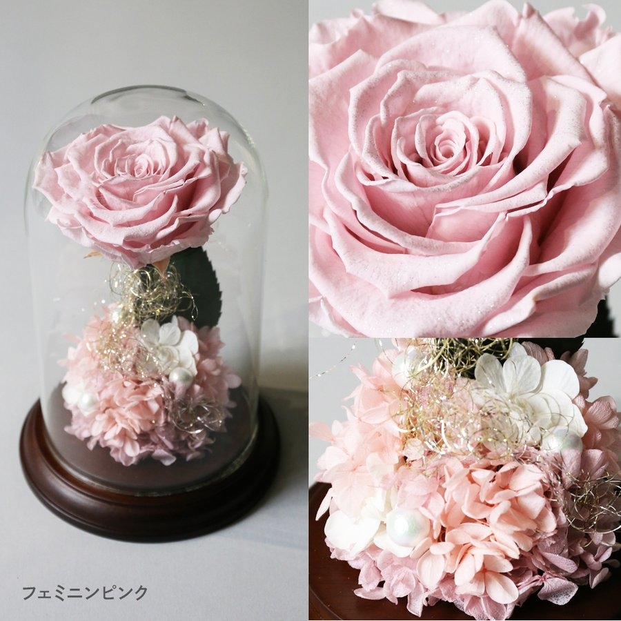 プリザーブドフラワー 花 プレゼント プロポーズ ガラスドーム 薔薇 Princess Fleur|makefuture|07