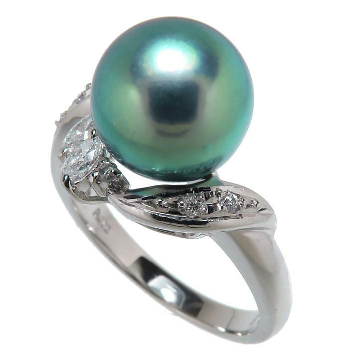 【海外限定】 12号 黒蝶真珠(タヒチパール)9.4mm ダイヤモンド 計0.16ct リング・指輪 Pt900プラチナ 6.6g レディース, 彩食グルメ 0f18e32e