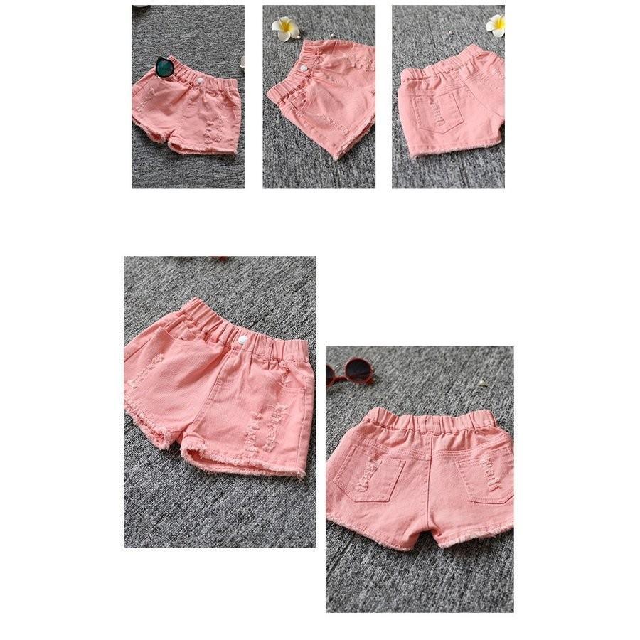 子供服 ショートパンツ デニム 女の子 ショーパン ダメージ加工 半ズボン 夏物 ボトムス ウエストゴム 女児 ハーフパンツ キッズ ジーパン|makonoi|06