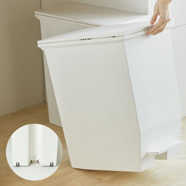 ゴミ箱  スリム おしゃれ キッチン 分別 約幅30cm 両開き フタ 45L 45Lリットル 日本製 カウンター下 収納 ( SOLOWペダルオープンツイン 45L 2個セット)|mamachi|10