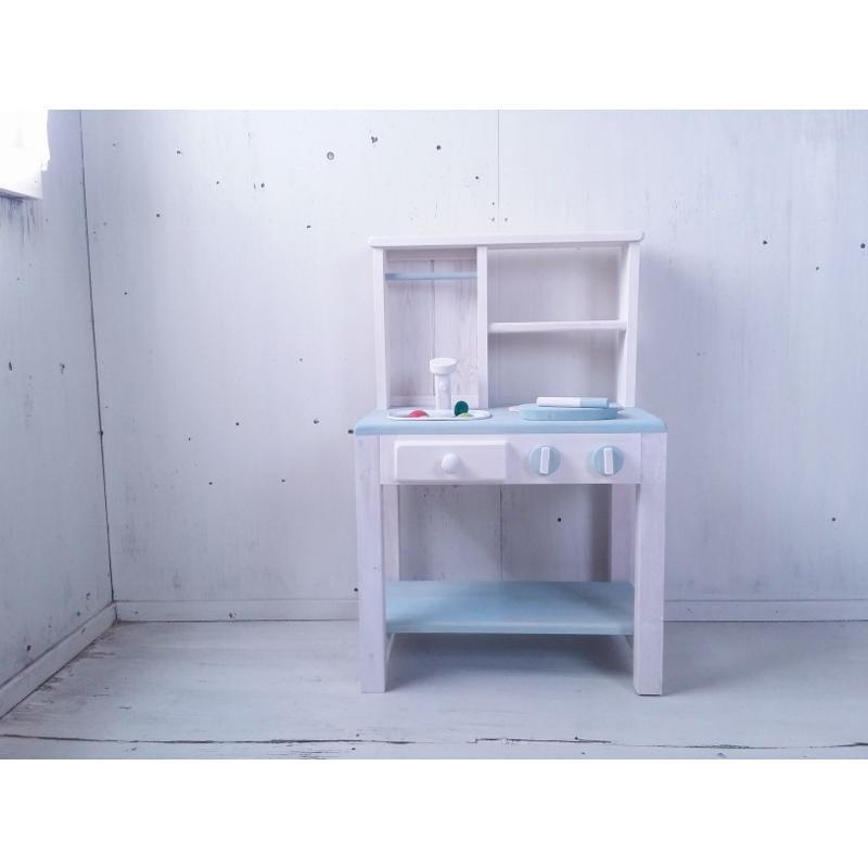 おままごとキッチン うらら 水色 白色 ブルー ホワイト 誕生日プレゼント 木製 木製 手作り