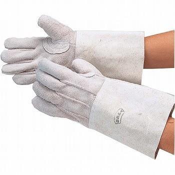 牛床革手袋 おたふく手袋 溶接ロング床5指 革手袋 [120双入] 406 総革製