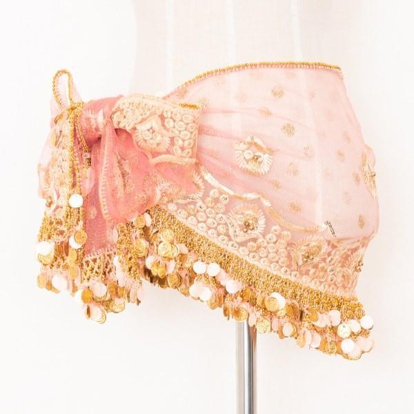 エジプト製 デザイン ヒップスカーフ シェルピンク×ゴールドコイン ManasMana ベリーダンス 衣装 レッスン着