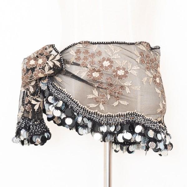 エジプト製 デザイン ヒップスカーフ ブラックグレージュ×シルバーコイン ManasMana ベリーダンス 衣装 レッスン着