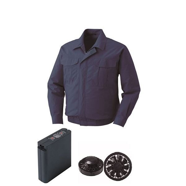 空調服 綿薄手ワーク空調服 大容量バッテリーセット ファンカラー:ブラック 0550B22C14S3 〔カラー:ダークブルー サイズ:L 〕