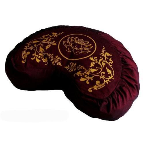 ヨガ フィットネス TS077A2 Boon Decor Meditation Cushion Crescent Zafu - Lotus Enlightenment - Burgundy