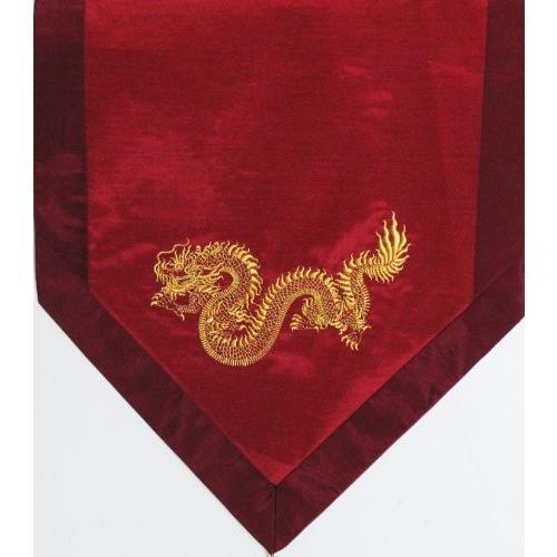 ヨガ フィットネス new Boon Decor Altar Cloth Or Wall Hanging - Embroidered with Silk Trims Gold Dragon