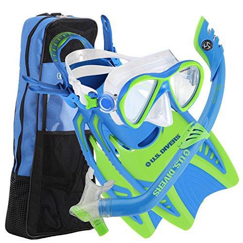 【特価】 シュノーケリングU.S. Divers Junior Kids Dorado Mask, Proflex Fins, & Sea Breeze Snorkel Set with Carry Travel Bag, Fun Blu, ミナミイズチョウ 8af2d694