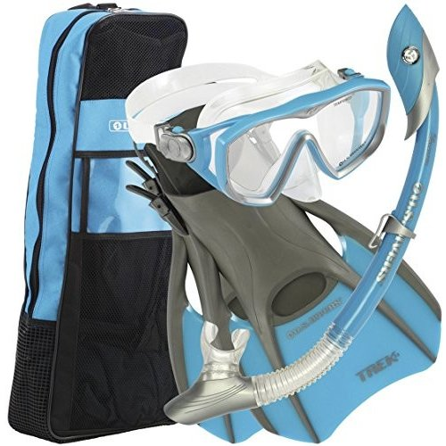 正規 シュノーケリングU.S.Divers Diva 1 LX/Island Dry LX Snorkel with Trek/Travel Bag, Aqua, Medium, ミズホク f0f73d63