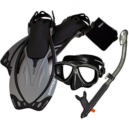 2019年新作 シュノーケリングPromate 285890-Ti/Bk-SM, Snorkeling Mask Dry Snorkel Fins Mesh Gear Bag Set, タキネマチ da62b09d