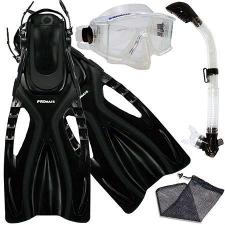 【★安心の定価販売★】 シュノーケリングPromate Set, Snorkeling Scuba Dive Side-VIEWED Side-VIEWED Purge Mask Fins Fins Dry Snorkel Gear Set, ClrWBk, MLXL, ダイエイチョウ:af0bb5a6 --- airmodconsu.dominiotemporario.com