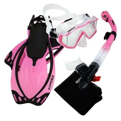 最大の割引 シュノーケリングPromate 9990, Pink, ML/XL, Snorkeling Scuba Dive Panoramic Purge Mask Dry Snorkel Fins Gear Set, 大野城市 b5381474