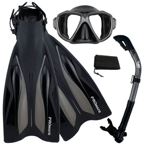 低価格の シュノーケリングPromate Deluxe Snorkeling Gear Scuba Diving Fins Mask Dry Snorkel Set, BkTi, MLXL, フロアマット専門 MAT THE CLASS 5264b524