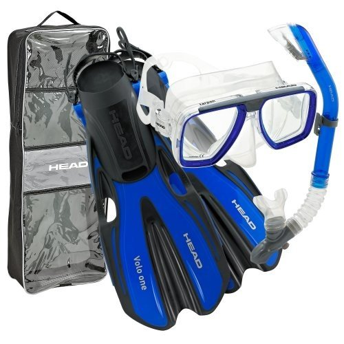 お歳暮 シュノーケリングHEAD by Mares Tarpon Travel Friendly Premium Mask Fin Snorkel Set, Blue, Small, (4-6), 玄関ドアプロショップ c09808cd