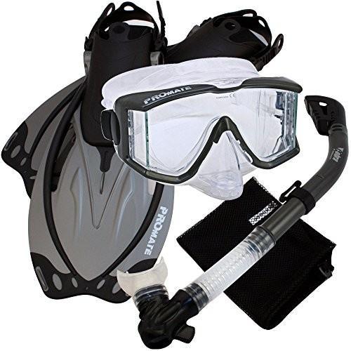 限定価格セール! シュノーケリングPromate Snorkeling Scuba Dive Panoramic Purge Mask Dry Snorkel Fins Gear Set, Ti, MLXL, 素晴らしい外見 b689c615