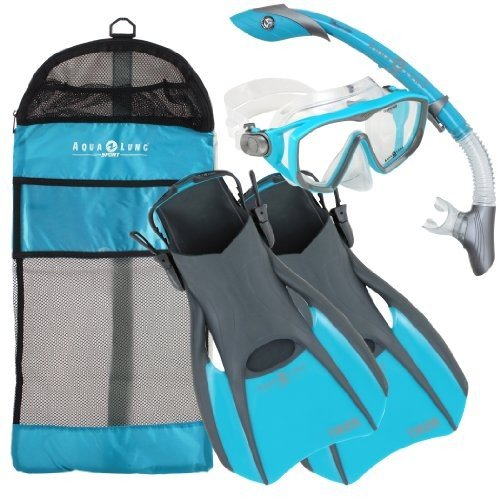 当店だけの限定モデル シュノーケリングAqualung Snorkel Set with Sport Diva 1 Lx Mask, Island Dry Snorkel and Trek Fin, Aqua Blue, Medium, ブランドバッグ通販のプリマローズ dbce04be