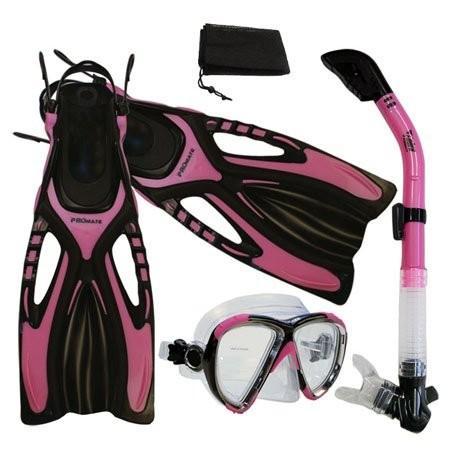 衝撃特価 シュノーケリングPromate Snorkeling Scuba Dive Fins Mask Snorkel Set w/Mesh Bag, Pink, S/M, 能勢町 66b5af19